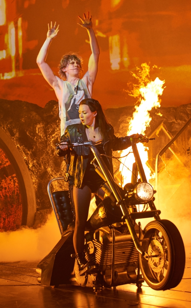 Andrew Polec and Christina Bennington in Bat Out of Hell.