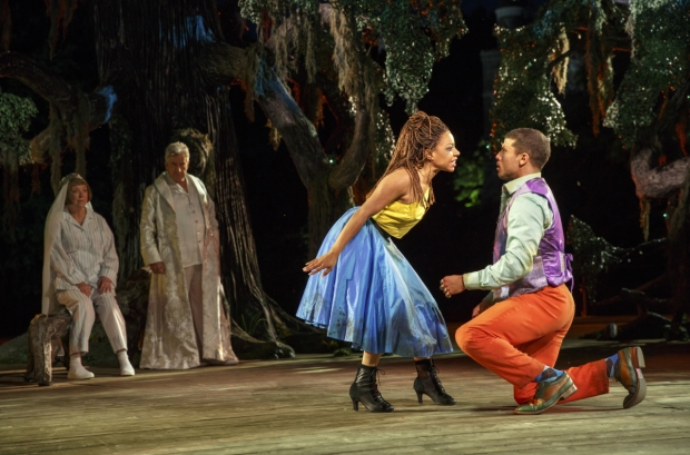 Kristine Nielsen, Richard Poe, Shalita Grant, and Alex Hernandez in the Public Theater's Free Shakespeare in the Park production of A Midsummer Night's Dream, directed by Lear deBessonet, running at the Delacorte Theater in Central Park .