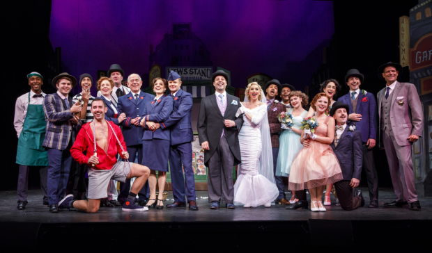 The company of Guys and Dolls, directed by Hunter Foster, at Bucks County Playhouse.