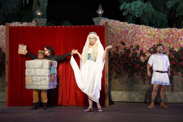 Patrena Murray, Robert Joy, Jeff Hiller, and Danny Burstein plays The Mechanicals in the Shakespeare in the Park production of A Midsummer Night's Dream.