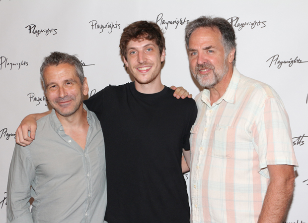 Director David Cromer and playwright Max Posner pose with Playwrights Horizons artistic director Tim Sanford.