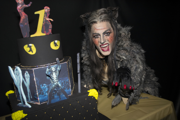 The cast of cats received a kitty cake.
