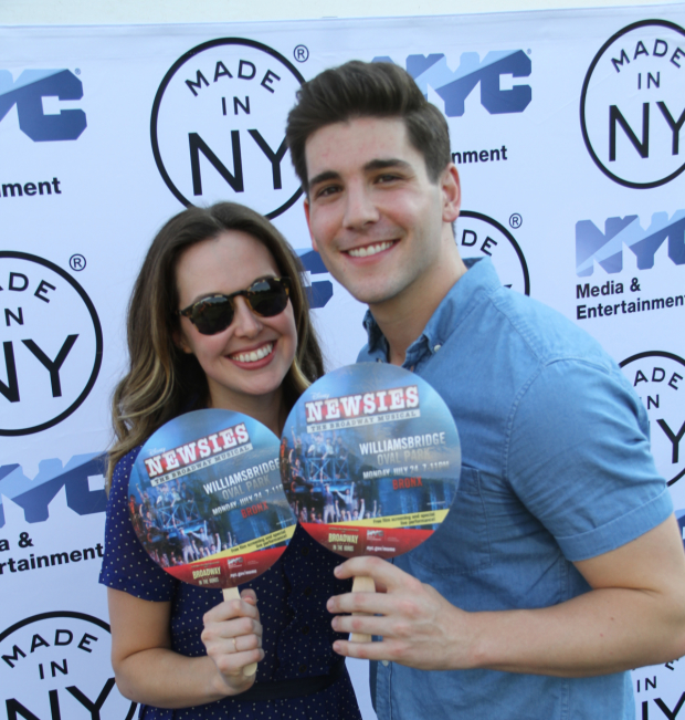 Newsies stars Liana Hunt and Adam Kaplan performed at Broadway in the Boros.