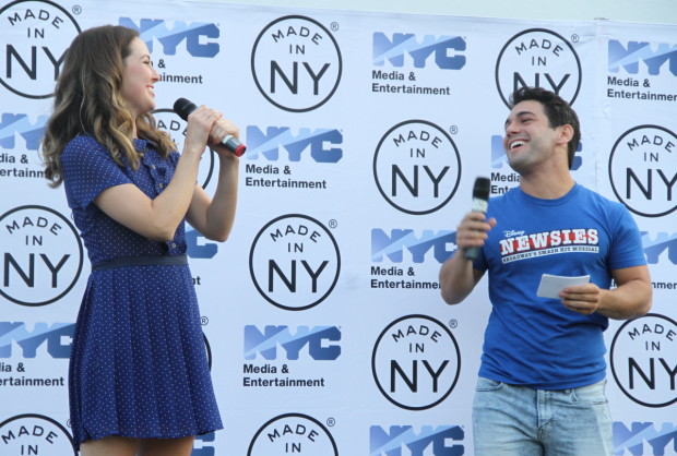 Liana Hunt shares the stage with the evening's host, Tommy Bracco.
