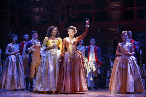 Amber Iman, Emmy Raver-Lampman, and the original San Francisco cast of Hamilton.