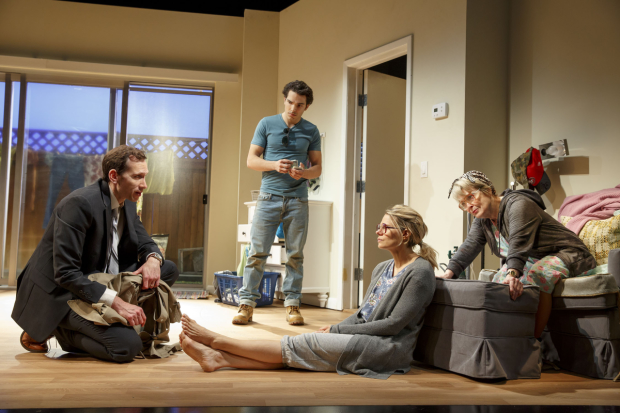 Stephen Kunken, Juan Castano, Celia Keenan-Bolger, and Anita Gillette star in Bruce Norris's A Parallelogram, directed by Michael Greif, at Second Stage Theatre.