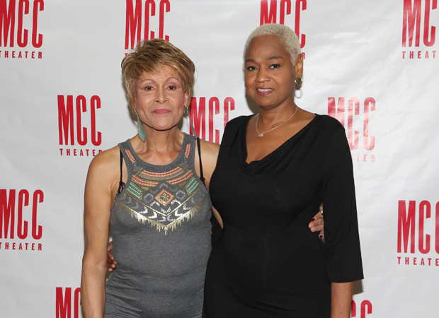 Star Sandra Caldwell (right) gets a photo with Miss Gloria Allen (left).