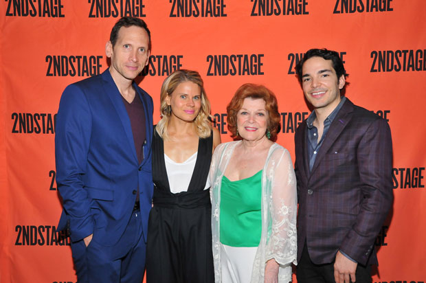 The cast of A Parallelogram: Stephen Kunken, Celia Keenan-Bolger, Anita Gillette, and Juan Castano.