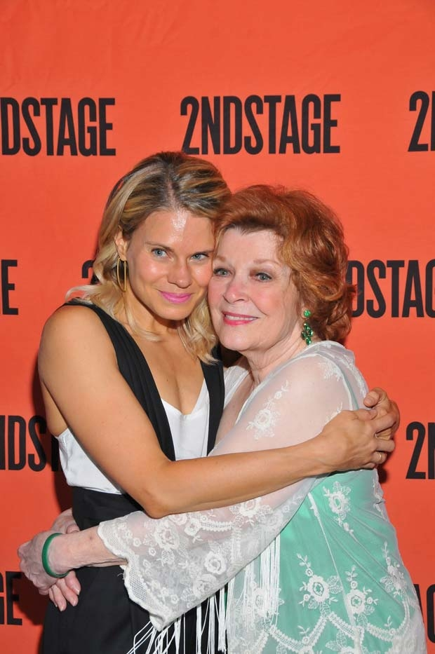 Costars Celia Keenan-Bolger and Anita Gillette embrace after the show.
