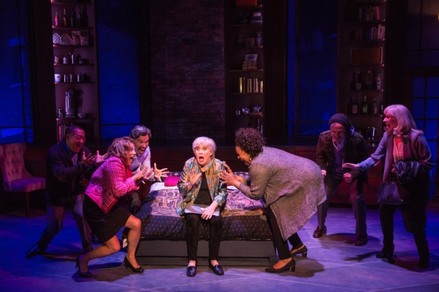 Alan Muraoka, Andrea Bianchi, Ken Land, Nancy Opel, Aisha de Has, Christopher Shyer, and Elizabeth Ward Land star in Drew Brody and Bobby Goldman's Curvy Widow, directed by Peter Flynn, at the Westside Theatre.