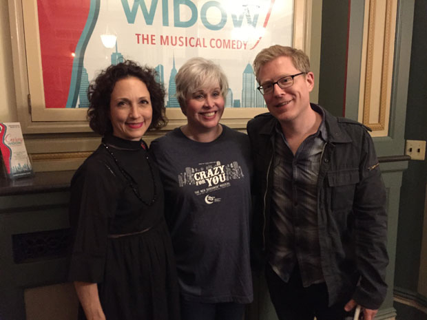 Bebe Neuwirth (left) Anthony Rapp (right) grab a photo with Curvy Widow star Nancy Opel on opening night.
