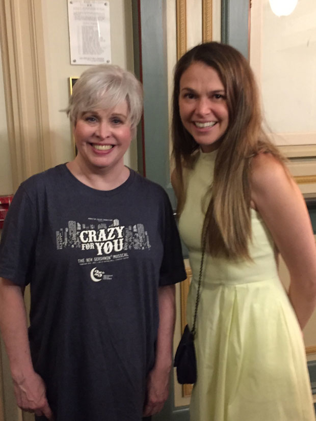 Nancy Opel and Sutton Foster pose for a photo after the show.