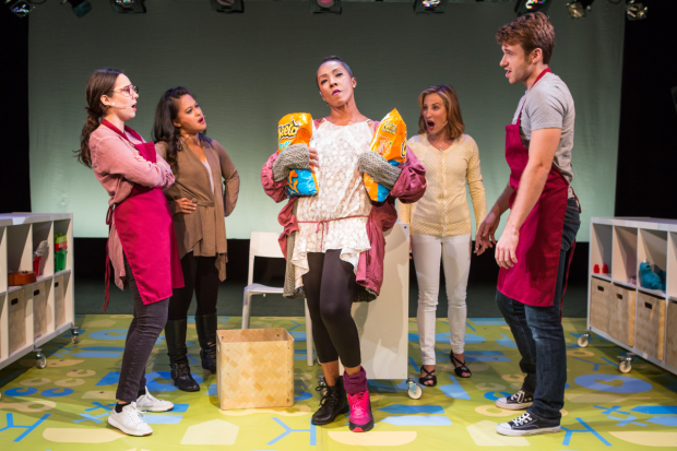 Annie Dow, Veronica Reyes-How, Harriet D. Foy, Erin Leigh Peck, and Jimmy Brewer star in MotherFreakingHood!, directed by Terry Berliner, for NYMF at the Peter Jay Sharp Theater.