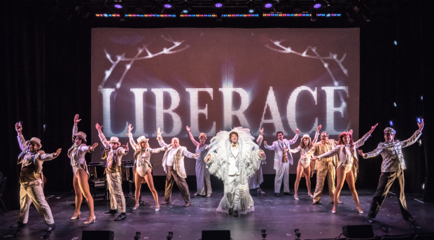Samuel Floyd (center) leads the cast of Ben, Virginia and Me: The Liberace Musical, directed by Paul Stancato, for NYMF at the Acorn Theatre.