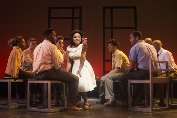 Brynn Williams leads the cast of Freedom Riders: The Civil Rights Musical, directed by Whitney White, for NYMF at the Acorn Theatre.