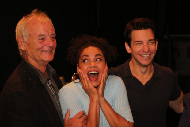 A star struck Barrett Doss stands between two Phil Connors: Bill Murray (left) and costar Andy Karl (right).