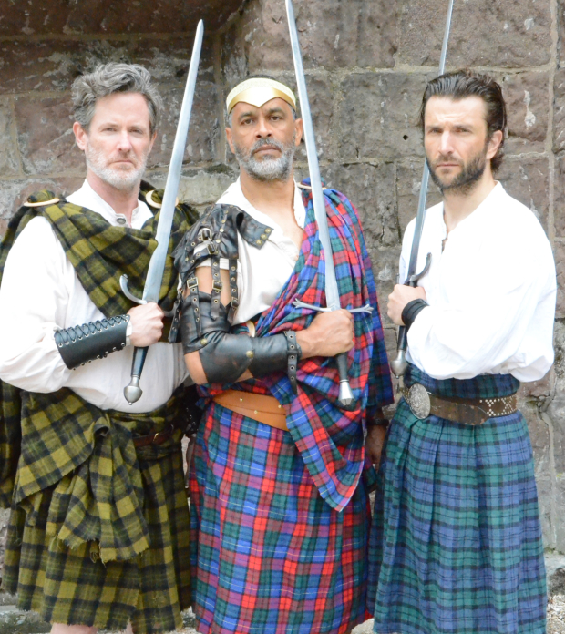 Clay Storseth (Banquo), Will Dixon (Macbeth), and M. Scott McLean (Macduff) in New York Classical Theatre's Macbeth, directed by Stephen Burdman.