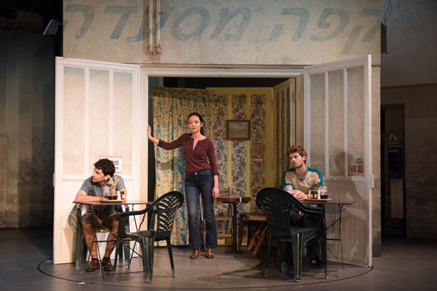 John Cariani, Katrina Lenk, and Daniel David Stewart in the Atlantic Theater Company production of The Band's Visit.