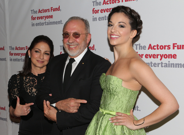 Gloria and Emilio Estefan with Ana Villafañe, the original Gloria Estefan in Broadway's On Your Feet!