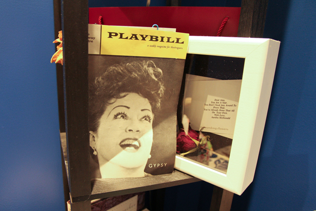 "Villafañe's ""Broadway shrine"" with her Gypsy Playbill and note from Audra McDonald."
