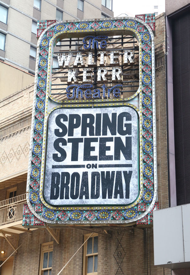 The marquee for Springsteen on Broadway at the Walter Kerr Theatre.