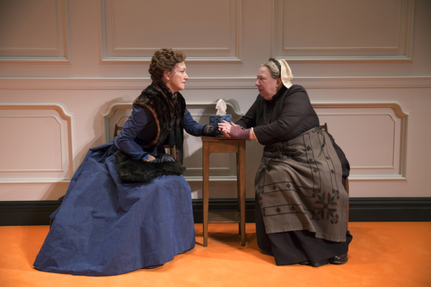 Nora (Julie White) reunites with Anne Marie (Jayne Houdyshell) in A Doll's House, Part 2 at Broadway's John Golden Theatre.