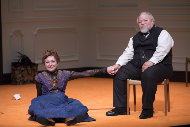 Julie White and Stephen McKinley Henderson star in Lucas Hnath's A Doll's House, Part 2, directed by Sam Gold, at Broadway's John Golden Theatre.