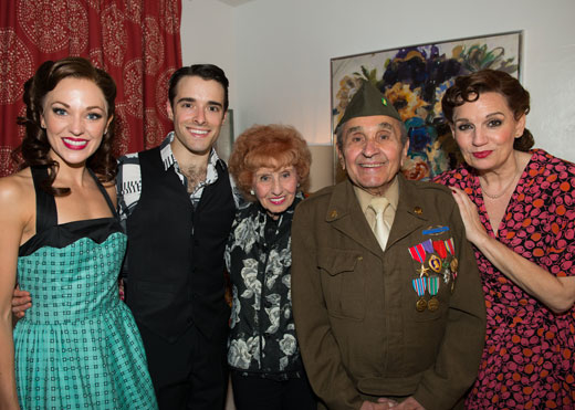 Laura Osnes, Corey Cott, Elinor Otto, Luke Gasparre, and Beth Leavel grab a photo after a performance of Bandstand.