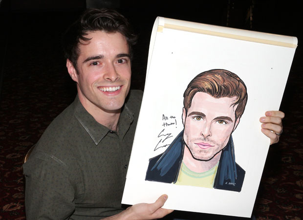 Corey Cott poses with his Sardi's portrait.