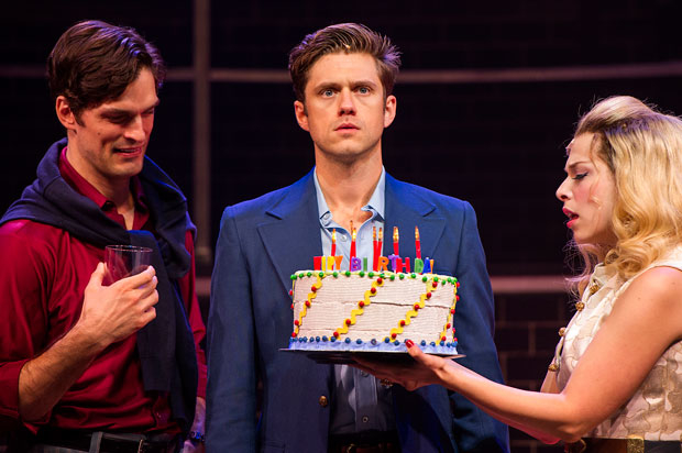 Paul Schaefer, Aaron Tveit, and Lauren Marcus star in Company, directed by Julianne Boyd, at Barrington Stage Company.