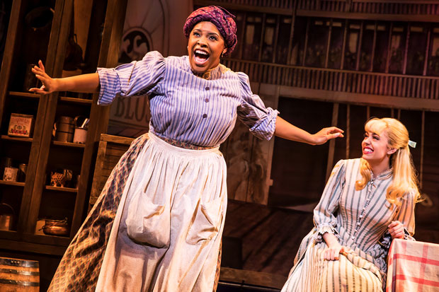 Bryonha Marie Parham and Kaley Ann Voorhees perform a scene from Showboat in Prince of Broadway, directed by Harold Prince, at the Samuel J. Friedman Theatre.