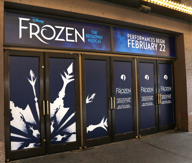 Frozen's front of house artwork takes shape at the St. James Theatre.