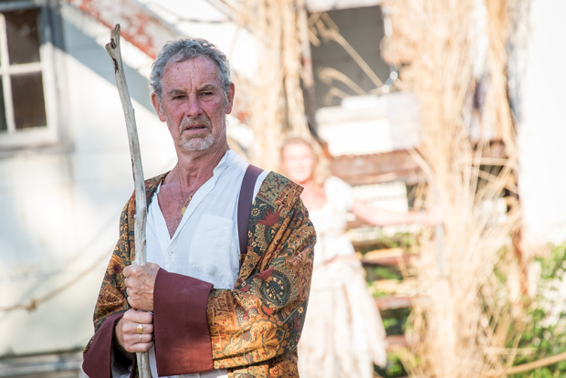 Nigel Gore stars as Prospero in The Tempest, directed by Allyn Burrows, at Shakespeare and Company's Roman Garden Theatre.