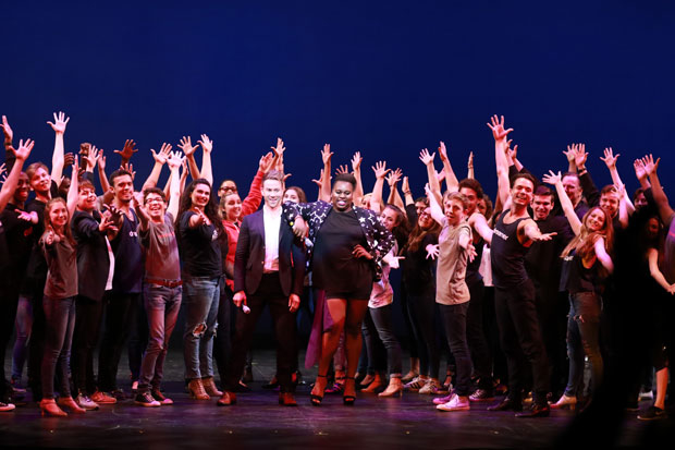 Christopher J. Hanke and Alex Newell pose with students of Broadway Dreams Philadelphia.