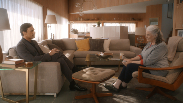 Jon Hamm and Lois Smith in Michael Almereyda's film adaptation of Jordan Harrison's Marjorie Prime.