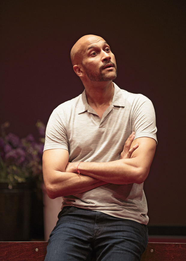 Keegan-Michael Key in the Public Theater's production of Shakespeare's Hamlet.