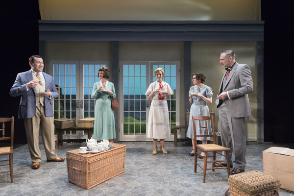 Colin Ryan, Gina Costigan, Ellen Adair, Sarah Nicole Deaver, and Aidan Redmond star in Holiday House, the third play in The Suitcase Under the Bed.