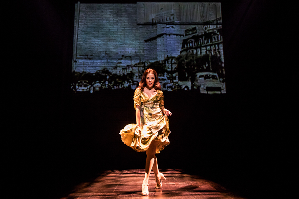 Janet Dacal plays Evita in Prince of Broadway, directed by Harold Prince and Susan Stroman, for Manhattan Theatre Club at Broadway's Samuel J. Friedman Theatre.