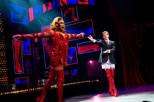 Billy Porter takes a bow on the opening night of Kinky Boots as castmate Stark Sands looks on.