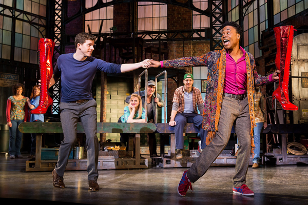 Stark Sands plays Charlie Price and Billy Porter plays Lola in Cyndi Lauper and Harvey Fierstein's Kinky Boots, directed by Jerry Mitchell, at Broadway's Al Hirschfeld Theatre.