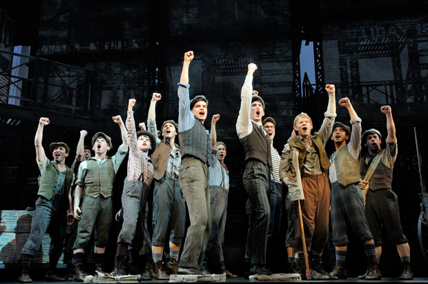 Jeremy Jordan and the Broadway cast of Newsies.