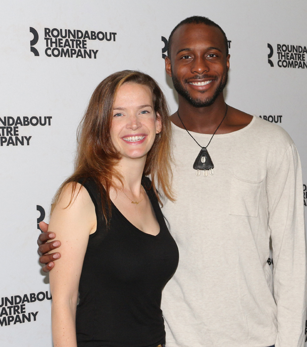 Director Margot Bordelon grabs a photo with playwright Jiréh Breon Holder.