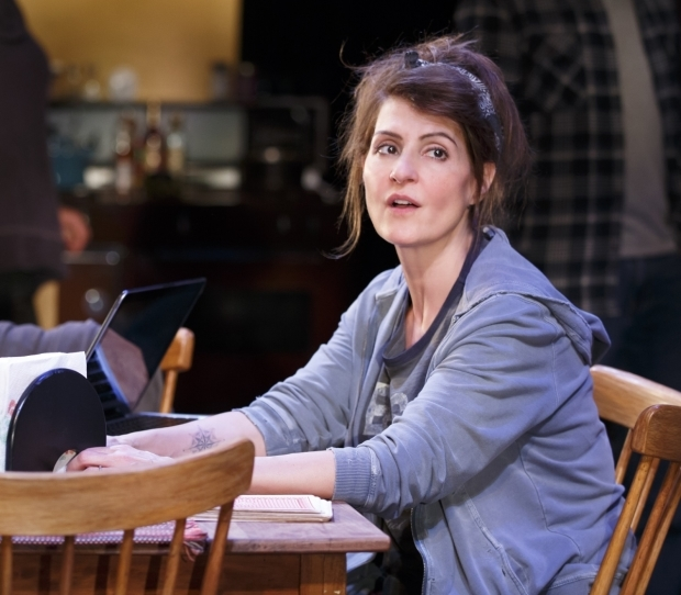 Nia Vardalos in Tiny Beautiful Things at the Public Theater.