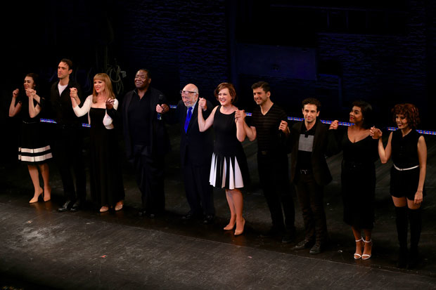 Harold Prince takes a bow with the cast of Prince of Broadway on opening night.
