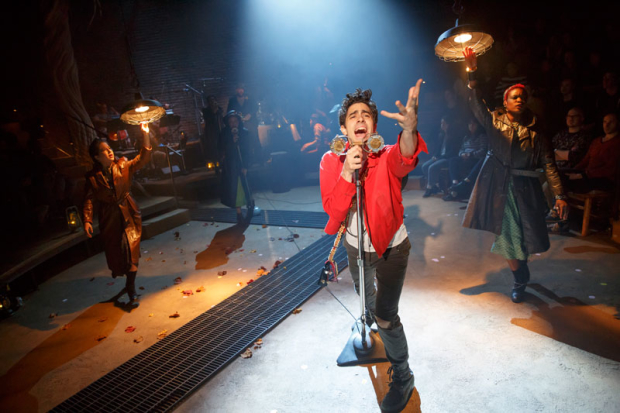 Left to right: Shaina Taub, Amber Gray, Damon Daunno, and Lulu Fall from last year's New York Theatre Workshop production of Anaïs Mitchell's Hadestown. The live cast album is now available for digital preorder.