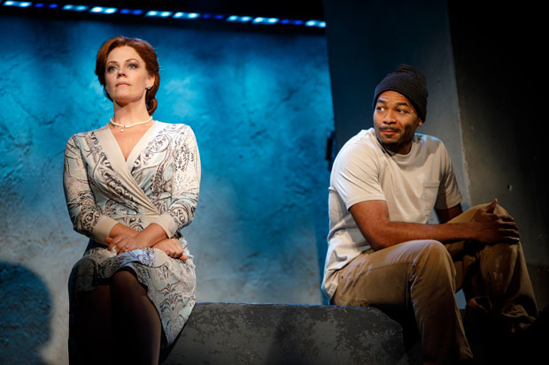 Elizabeth Stanley & Brandon Victor Dixon star in F**cking A, directed by Jo Bonney, at Pershing Square Signature Center.