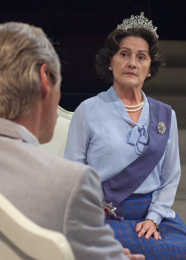 Janet Ulrich Brooks as Queen Elizabeth II and Mark Ulrich as Anthony Eden in The Audience at TimeLine Theatre Company, directed by Nick Bowling.