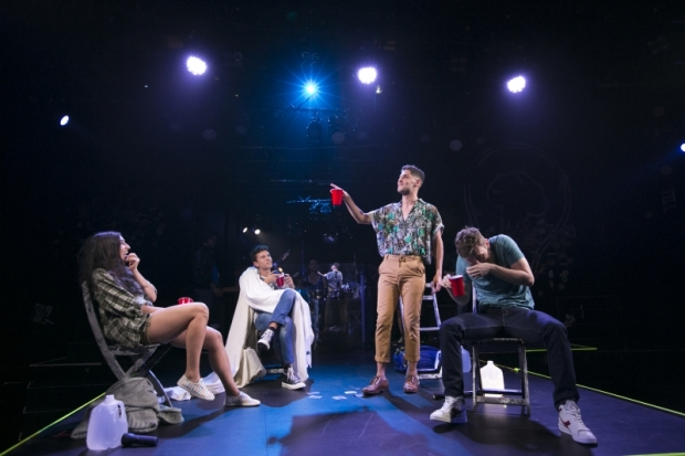 Krystina Alabado (Holly), Lincoln Clauss (Bobby), Perry Sherman (Will), and Ken Clark (Zak) in Burn All Night, directed by 	Jenny Koons, at the American Repertory Theater.