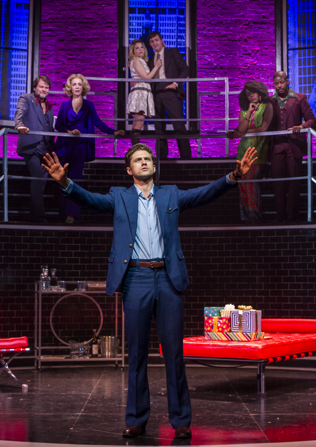 Aaron Tveit as Robert in Barrington Stage Company's production of Company.