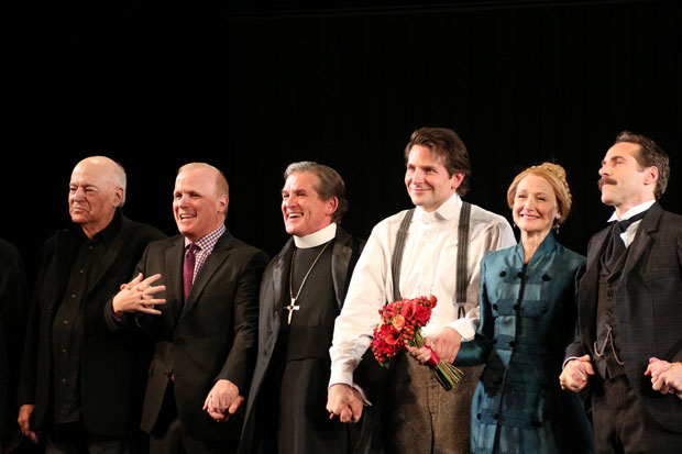 Bernard Pomerance (left) takes a bow on the opening night of The Elephant Man in 2014.